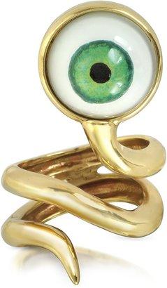 Bernard Delettrez Bronze Snake Ring With Eye