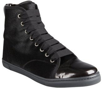 Lanvin black calf hair and patent leather hi-top sneakers