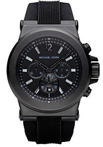 Michael Kors Black Stainless Steel and Silicone Watch