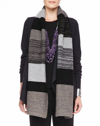 Eileen Fisher Colorblocked Shine Knit Scarf