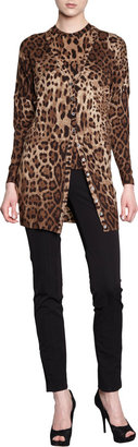 Dolce & Gabbana Longer Leopard V-Neck Cardigan