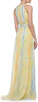 Badgley Mischka Printed Chiffon Halter Gown