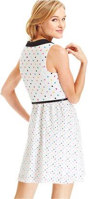 Eric + Lani Juniors Dress, Sleeveless Belted Polka-Dot-Print