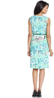 Charter Club Dress, Sleeveless Belted Printed Sheath