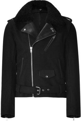 Sandro Black Wool Biker Jacket with Leather Trim