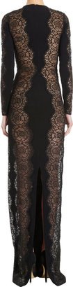 Stella McCartney Long Sleeve Lace Sheath Gown