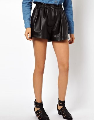 Asos Leather Shorts with High Waist Detail