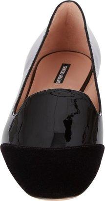 Giorgio Armani Women's Velvet Cap-Toe Loafers-Black