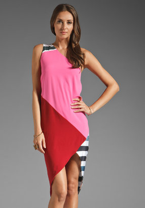 Camilla And Marc Oriel One Shoulder Dress in Stripe/Pink/Maroon