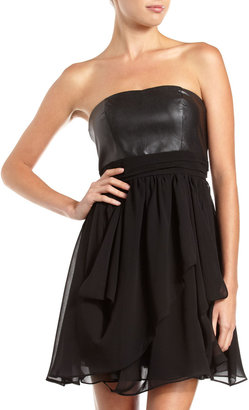 Romeo & Juliet Couture Faux Leather-Chiffon Strapless Dress, Black
