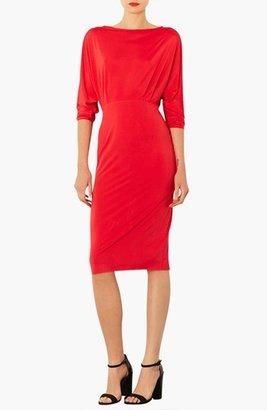 Topshop Dolman Sleeve Open Back Blouson Midi Dress
