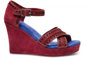 Toms TOMS+ Oxblood Tooled Leather Women's Strappy Wedges