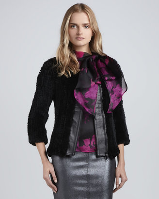 Milly Three-Quarter-- Sleeve Knitted Fur Jacket