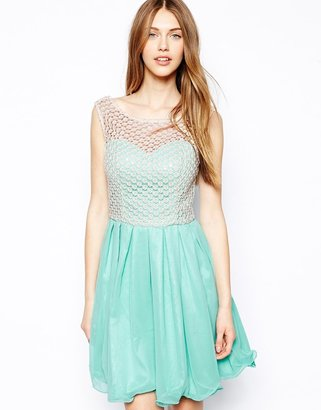 Chi Chi London Skater Dress with Lace Top