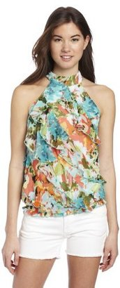 Amy Byer A. Byer Juniors Seamed Halter Top With Tiers