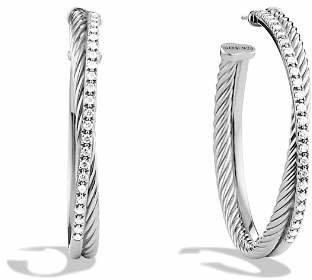 David Yurman Crossover Extra Large Hoop Earrings with Diamonds