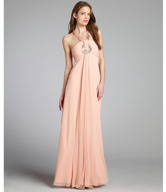 LM Collection peach chiffon crystal and bead embellished halter gown