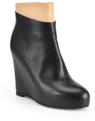 Maison Martin Margiela Bicolor Leather Wedge Ankle Boots