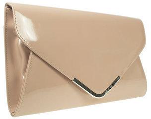 Barratts Womens Ladies Nude Patent Envelope Clutch Bag Handbag