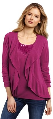 Sag Harbor Women's Sweater Ruffle Duet