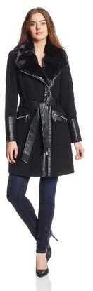 Via Spiga Women's Asymmetrical Zip Front Wool Coat with Faux Fur Collar, Black, 6