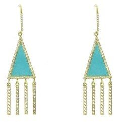 Jennifer Meyer Yellow Gold Turquoise Diamond Fringe Earrings