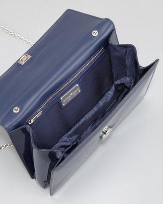 Salvatore Ferragamo Vara Ginny Patent Flap Shoulder Bag, Oxford Blue