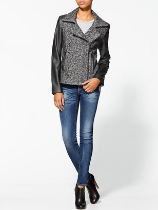 Calvin Klein Tweed Moto Jacket With Faux Leather Sleeves