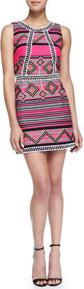 Milly Diamond Striped Jacquard Mini Dress