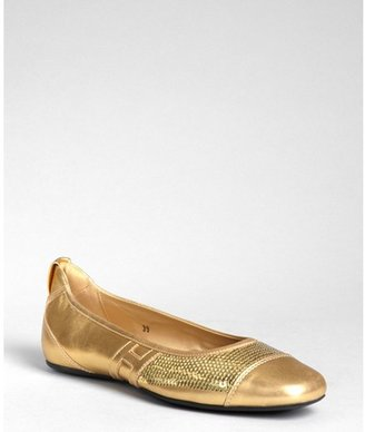 Hogan dark gold leather and sequined 'Coquette' flats