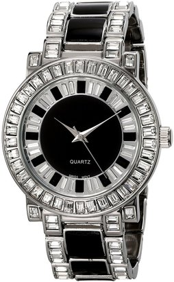 Peugeot Couture J6311SBK Silver-Tone Black Swarovski Baguette Bezel Watch