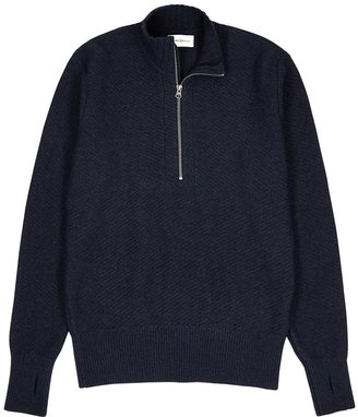 Oliver Spencer Navy Half-zip Wool Jumper