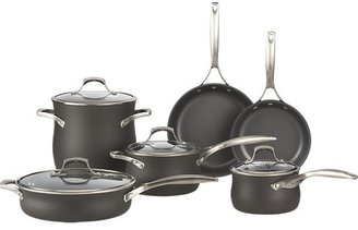 "Crate & Barrel 10-Piece Set: 8-qt. Sear stockpot with lid, 4-qt. Sear sauté pan with lid, 3-qt. Slide saucepan with lid, 2-qt. Slide saucepan with lid, 10"" Slide frypan and 8"" Slide frypan, bonus colander and bonus everyday pan."