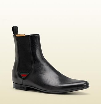 Gucci Bootie With Signature Web Detail.