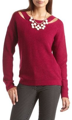 Charlotte Russe Cutout Shoulder Pullover Sweater