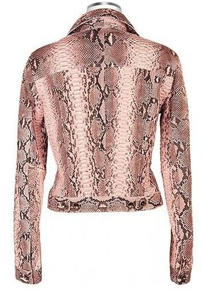 Forzieri Pink Python Leather Button Front Jacket