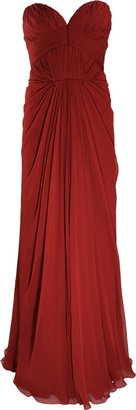J. Mendel Strapless Pleated-Bodice Gown