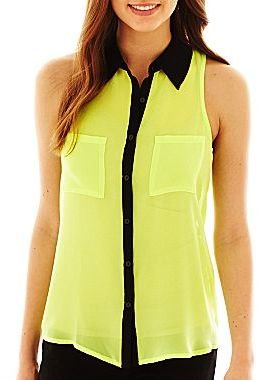 JCPenney Decree® Sleeveless Button-Front Blouse