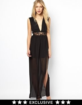 Love Maxi Dress with Lace Waist and Plunge Neck - Black