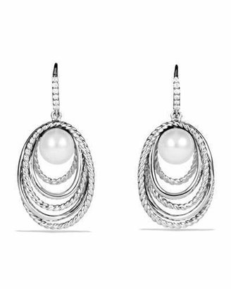 David Yurman Pearl Crossover Drop Earrings with Diamonds $750 thestylecure.com