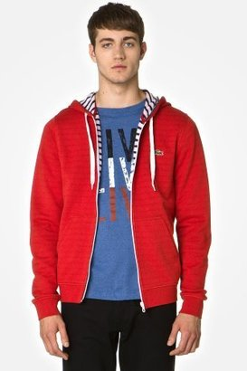 Lacoste L!VE Full Zip Hoody Sweatshirt With Stripe Lining