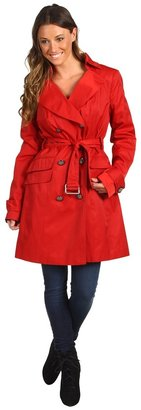 Vince Camuto Double Breasted Trench w/ Button-Out Liner (Red) - Apparel
