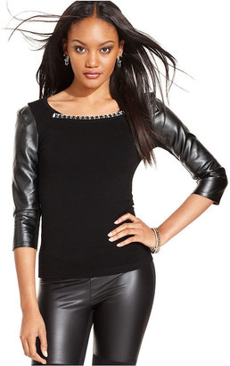 GUESS Top, Long-Sleeves Scoop-Neck Faux-Leather Rhinestones