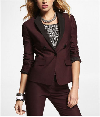 Express Twill Notched Contrasting Lapel Jacket