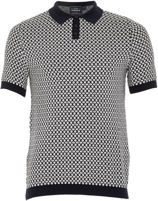 Topman Navy Short Sleeve Diamond Polo Shirt