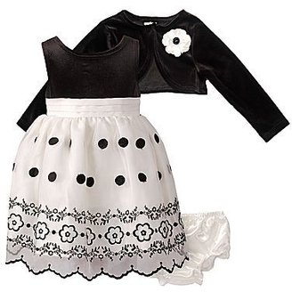 Youngland Black Velour Dress w/ Shrug – Girls 12-24m