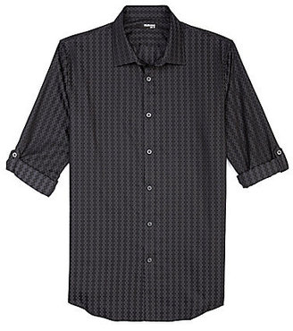 Murano Liquid Luxury Roll-Sleeve Slim Geo-Floral Sportshirt