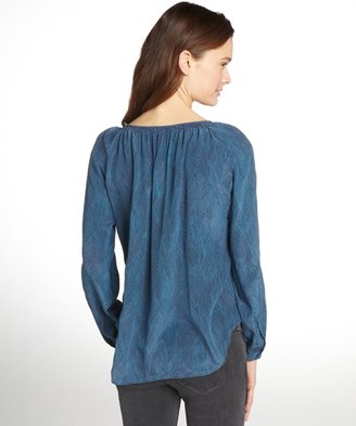 Rebecca Taylor navy and teal long sleeve kimono print scoop neck blouse