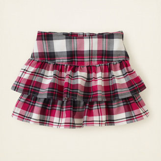 Children's Place Tiered plaid skirt