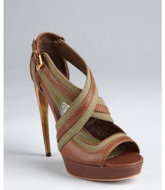 Alexander McQueen brown leather and canvas cross strap platform heels